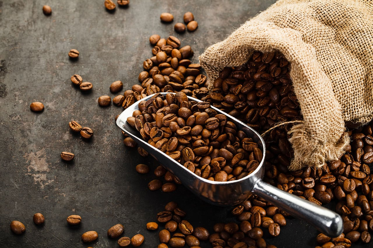 Ein Sack mit Kaffeebohnen