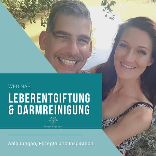 Sandra und Matthias Exl und ein Schriftzug Leberentgiftung und Darmreinigung